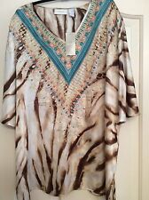 CHICOS  sz 3 poly silk top BRAND NEW W/TagsTurq shine Anne3/4Nuetral $99