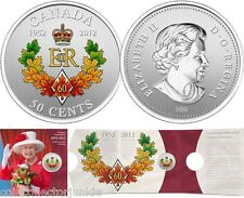 The Queen 's Diamond Jubilee 1952-2012~ 50 cent Silver Plated Coin Canada 2012