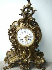 Gorgeous Antique French Solid Bronze JAPY Co. 1878 Shelf Mantel Clock Claw Feet