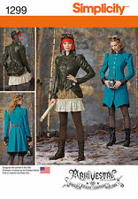 SIMPLICITY SEWING PATTERN 1299 MISSES STEAMPUNK SKIRTS COAT JACKET BUSTLE  6-12