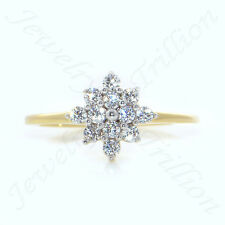 Round-Cut Sim.Diamond 14K Solid Yellow Gold Fn Cluster Engagement Wedding Ring