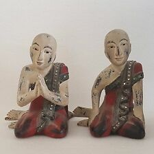 Pair of 19th Century Burmese Myanmar Lacquered Wood Disciples Statue.