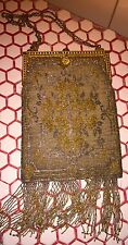 Vintage 1920s 20s Deco Gold Silver Swan Frame Oriental Rug Beaded Purse