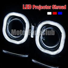 "Pair 3.0""/76MM LED Projector Chrome Shroud Cover Angel Eye HID Lens Halo 133F"