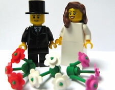 Lego Wedding Minifigures Bride Brown Wavy 3 Flowers  & Groom