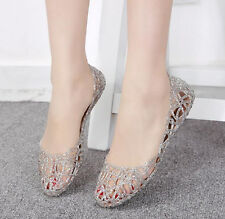 H ladies Summer Hot Sale Ventilate Crystal Shoes Jelly Hollow Out Sandal flat sz