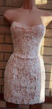 HEARTS & BOWS CREAM NUDE SLIP FLORAL LACE BANDEAU TUBE BODYCON VTG DRESS M L
