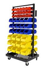 Erie Tools® 90 Bin Parts Storage Rack Locking Wheels for Shop Garage Nut Bolt