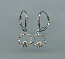 MICRO PAVED SPARKLING OPEN CIRCLE SHAPED RUSSIAN CZ LEVERBACK EARRINGS