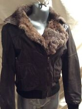 Leather Bomber~ Motorcycle Jacket With Rabbit Fur Collar