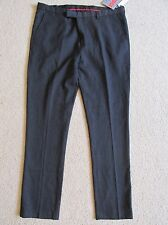 New Men's Edge WD NY Dress Pants Skinny Fit Flat Front Charcoal Gray 38 x 32