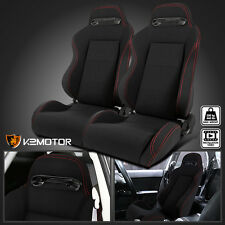 Black JDM Speed Black Cloth Red Stitch Bucket Racing Seats+Slider Pair