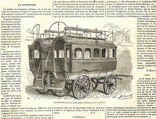 BORDEAUX LE BITICYCLE DE AUDINEAU MACHINE A VAPEUR GRAVURE ILLUSTRATION 1863