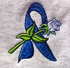 Blue Ribbon Sweatshirt Small White Rose Gray Cancer Awareness Crew Neck New