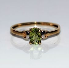 Dainty Peridot 9ct Yellow GOLD ring size K ~ US 5 1/4