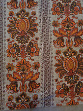 Awesome Vintage 70s Brown Orange Funky Pattern Fabric / Curtain Panel W45 L65.5