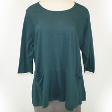 NEW NWOT Logo by Lori Goldstein Plus Size Trim Back Button Down Blouse Green 2X
