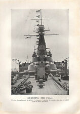 1918 WW1 WORLD WAR I PRINT ~ GUARDING THE FLAG TURRETS OF HMS CONQUEROR