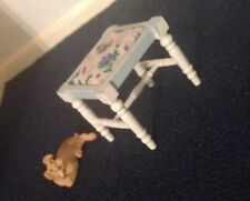 Dolls House Furniture:pretty blue and white bed room stool 12th scale