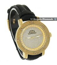 ladies diamond gold tone watch clubbing bling designer styling deluxe 3 strap