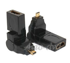 2x 360 Degree 1.4 Mirco HDMI Male to HDMI Female M/F Swivel Adapter Extender