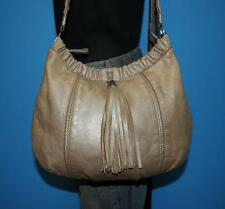 BRIGHTON Pearl Beige Ruched Leather Satchel Tote Shoulder Purse Convertible Bag