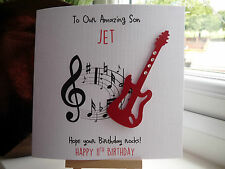 Handmade Personalised Guitar Male Birthday Card Son Dad Boyfriend Husband