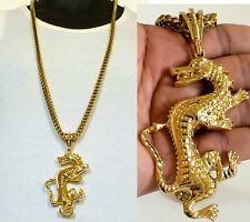 14K GOLD FILLED 6mm STAINLESS STEEL FRANCO CHAIN & LARGE DRAGON PENDANT NECKLACE