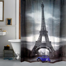 Cute Blue Car & Eiffel Tower Design Bathroom Waterproof Fabric Shower Curtain