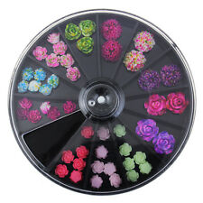 1 Box Nagel Nagel Dekoration Studs Sticker Farbig Resin Blumen Rose 3D Design