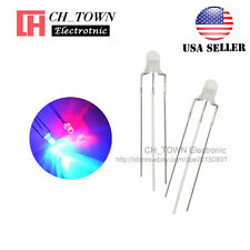 100pcs 3mm 3Pin Common Anode Water clear Bi-Color Red Blue Light Led Diodes USA
