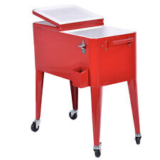 Red Outdoor Patio 80 Quart Cooler Cart Ice Beer Beverage Chest Party Portable