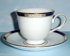 Lenox ROYAL TREASURE Tea Cup & Saucer Cobalt & Gold & Enameled Dots New