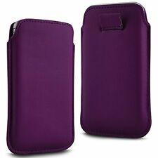 For - BLU Studio C Super Camera - Purple PU Leather Pull Tab Case Cover Pouch
