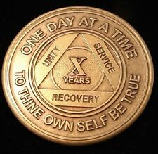Alcoholics Anonymous AA 10 Year Bronze Medallion Token Coin Chip Sobriety Sober