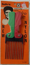 Vintage Nylon/Steel Black Man Folding Colorful Pocket Afro Pick Comb