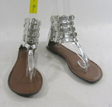 Summer NEW silver  WOMEN SHOES ROMAN GLADIATOR FLAT SANDALS     SIZE   5.5