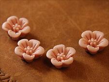 10x resin cabuchons flores para pegar 14mm rosa malva tm324