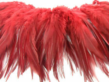 """50+ RED DYED FURNACE ROOSTER SADDLE CRAFT HAIR FEATHER 5""""-6""""L"""