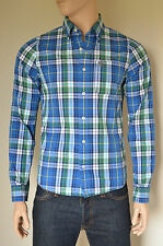 NEW Abercrombie & Fitch Henderson Lake Classic Shirt Blue & Green Plaid Check M