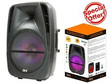 "QFX PBX-BF15 15"" Rechargeable Party Speaker +Bluetooth+USB/TF/FM+RGB Disco Light"