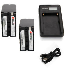 NP-F970 NPF970 Li-ion Battery for Sony NP-F550 F570 / 2PCS + USB Charger set