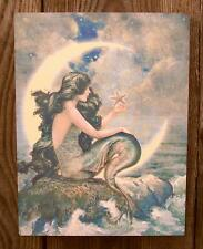 "8"" Vtg Style Mermaid-Crescent Moon Picture Plaque-Nautical Beach/Home Wall Decor"
