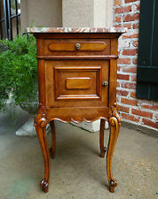 Antique French Marble Top Side Cabinet Nightstand End Table Louis XV Cabriole