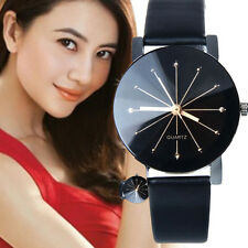 Fashion Women Leather Band Stainless Steel Anolog Quartz Wrist Watch Round Dress