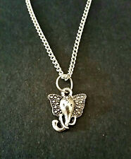 "Small ELEPHANT HEAD Tibetan Silver Necklace 18"" Chain Pendant Animal Gift"