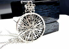 Compass Silver Custom Medalion Pendant With Black Daimonds by Sacred Angels