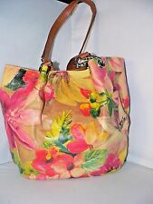 Maurizio Taiuti Floral Bag Purse Floral Tan Beige Tote Leather Made In Italy