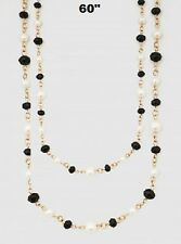"""60"""" Long White Pearl and Black Crystal Beaded Wrap Around Necklace 8mm"""