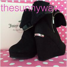 Women's Juicy Couture Fold-Over Platform Wedge Kasia Zipper Boots Black 9.5